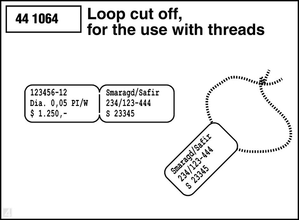 jewellery label with loop used as a tag label with thread