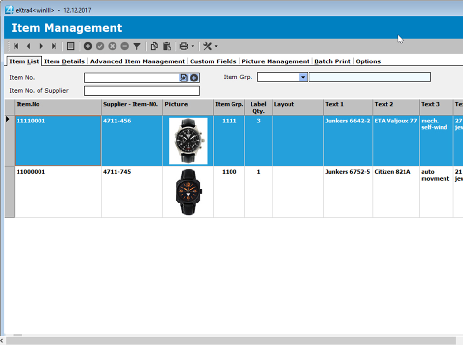 Window label printing software extra4 list view items in the simple item management