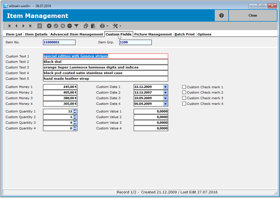 Window label printing software extra4 view of the free fields of an item data record in advanced item management