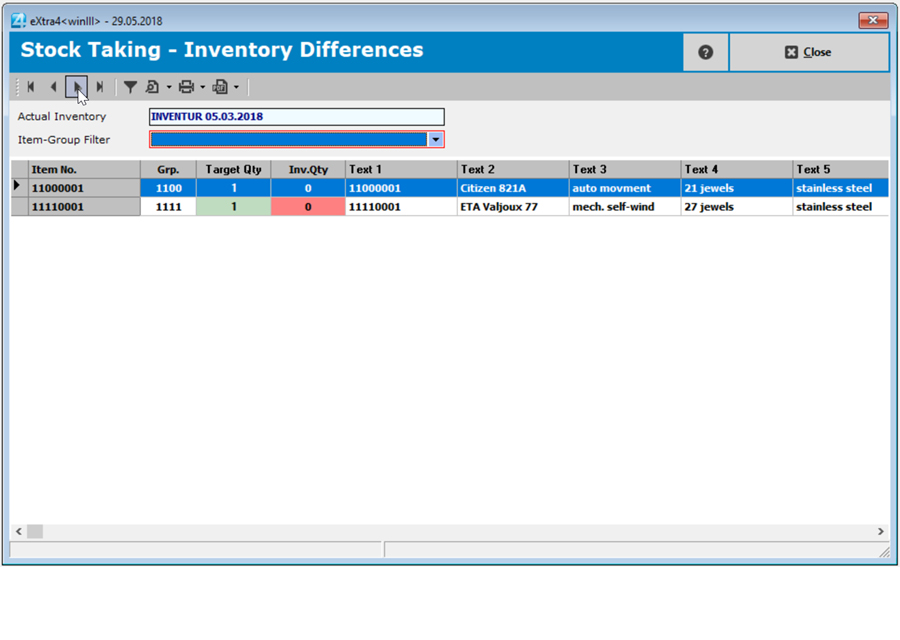 Window label printing software extra4 view of inventory differences in advanced item management
