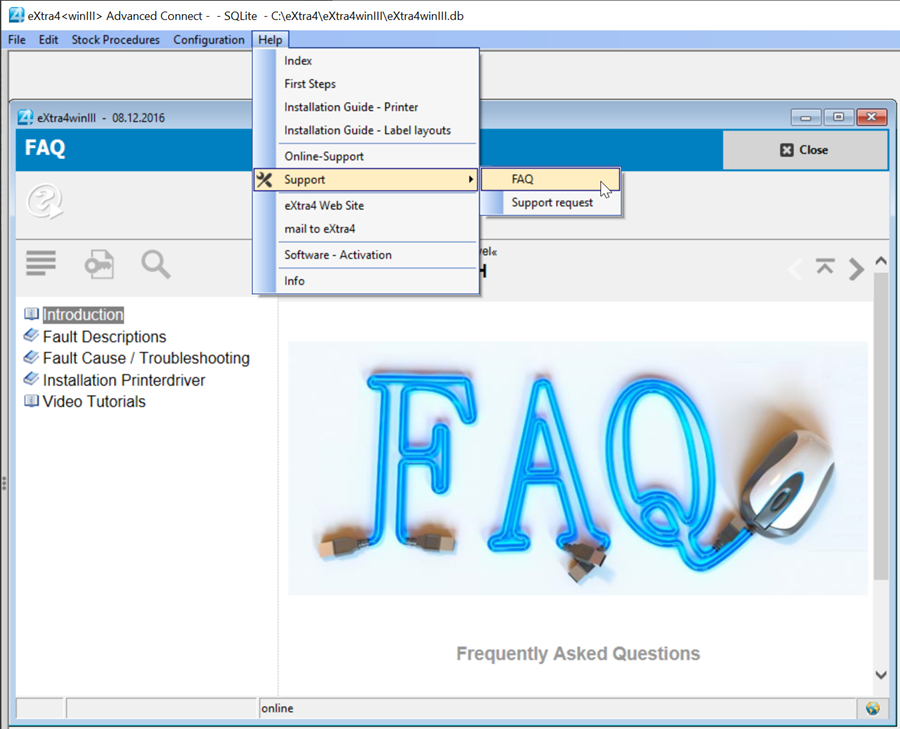 window label printing software extra4 FAQ section