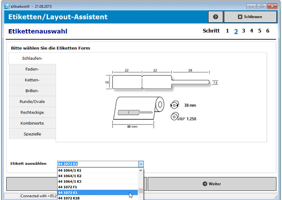 Fenster etikettendruck-software extra4 Etiketten-Layout-Assistent